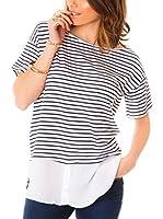 Les Gamines de Paris Camiseta Manga Corta Meredith (Azul / Blanco)