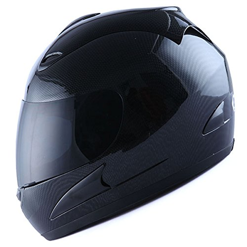 WOW Motorcycle Street Bike Full Face Helmet Carbon Fiber Black (Full Face Carbon Helmet compare prices)