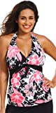 Shore Club Rosewood Plus Size Tie Front Halter Tankini Top Plus Size Swimsuit