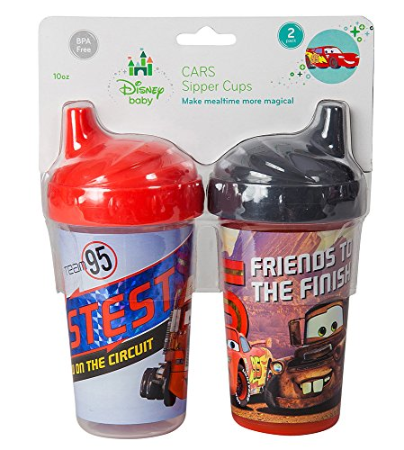 Disney Cars Lightning McQueen Sippy Cups, Red/Black, 2 Count - 1