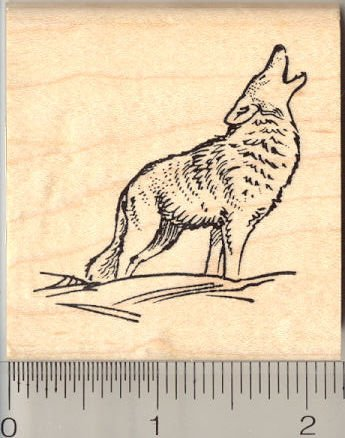 Coyote Howling Rubber Stamp