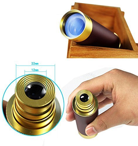 F.Dorla Waterproof Monocular 25x30 Zoomable Vintage Pirate Adjustable Telescopic Monocular Optics Telescope Aluminum Alloy Copper for Navigation Sailing Voyage View Watching Games 4