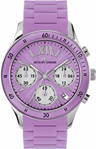 Jacques Lemans Women's 1-1587J Rome Sports Sport Analog Chronograph with Silicone Strap Watch