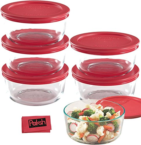 Food Storage Bundle - 12-Piece Set Glass Food Storage Containers, 2-Cup Pyrex Bowls with Lids (6 Bowls and 6 Lids) - Bundled with Cloth (Oven Safe Glass Jars compare prices)