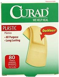Curad Regular Size Bandages, Plastic, 80 Count Box