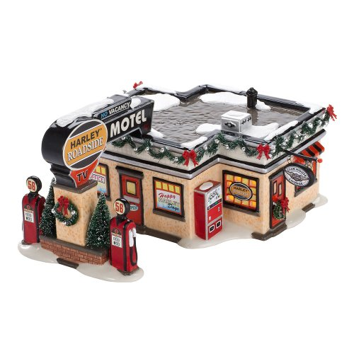 Department 56 Original Snow Village Harley Roadside Motel Lit House, 4.33-Inch