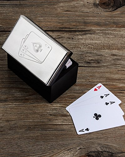 """Antique Like Hand Crafted Decorative Metal & Wooden Double Playing Card Deck Holder Box (4.5"""" X 2.75"""" X 3"""") With Ace Design Unique Gift"""