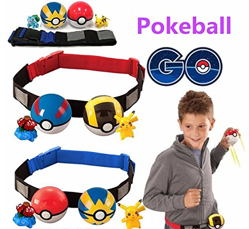 Pokemon Belt For Pokemon Red and White Blue and Yellow Pokeball Pikachu with 2 FREE Random Pokemon Figure Toy Toddler Kids Children Toys