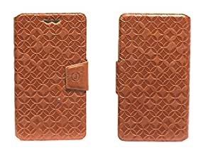 J Cover Vachetta Series Leather Pouch Flip Case With Silicon Holder For samsung grand prime Light Brown