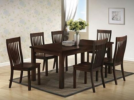 Boraam 21112 7-Piece Grantsville Dining Room Table Set, Cappuccino
