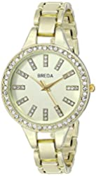"Breda Women's 8172-gold ""Veronica"" Rhinestone-Accented Gold-Tone Watch"