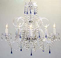 Great On sale BLUE CRYSTAL CHANDELIER CHANDELIERS NO RESERVE H X W