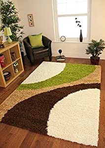 Helsinki 1960 Cream, Lime Green & Brown Modern Next Style Cheap Shaggy Rugs - 5 Sizes by The Rug House
