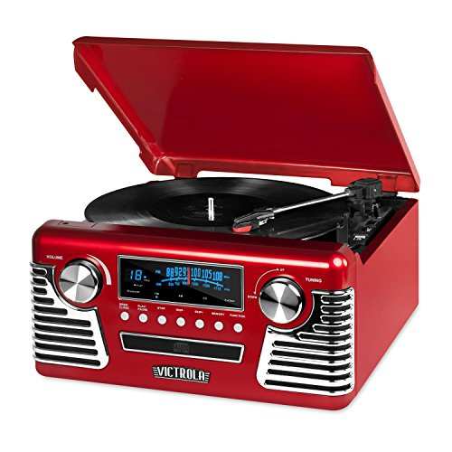 Victrola 50's Retro Record Player with Bluetooth and CD, Red (Victrola Turntable compare prices)