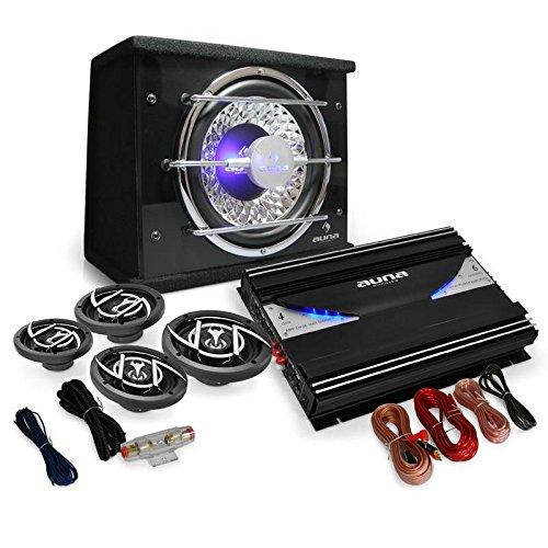 """Auna Set """"Black Line 540"""" Impianto audio auto car sistema completo Hi Fi (5000 Watt, amplificatore, 2 altoparlanti da 16,5 CM, 2 altoparlanti da 10 CM, subwoofer, cavi per collegamento)"""