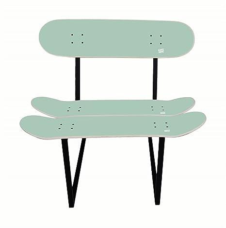 Skateboard Stuhl Benihana Minze Farbe. Holzstuhl und Metallstruktur. Beste Geschenkidee.