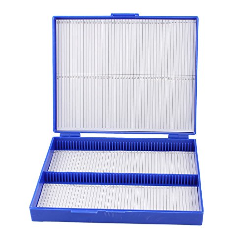 Royal Blue Plastic Rectangle Hold 100 Microslide Slide Microscope Box