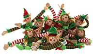 12 Deluxe Plush Hanging Christmas Elves – Tree Decorations – Holiday Stocking Stuffers Party Favors