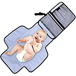 Aautoo Portable Changing Mat Diaper Changing Station Built-in Head Cushion Velcro Tab - Portable Baby Travel Kits