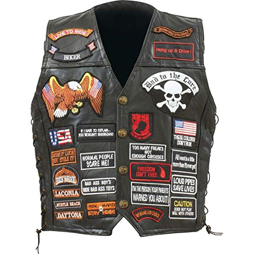 Incomparable Vests Standout Motorcycle Buf Lth Vest W/42 Patches - Xl Exclusive