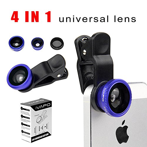 Ivapo Universal Phone Lens,4 In 1 Camera Lens Kit For Smart Phones (Iphone 4S 5S 5C,Iphone 6 4.7 Inch,Iphone 6 Plus 5.5 Inch Samsung Galaxy S5 Note 2 Note3,Note 4 Sony Z1 Z2 Z3), Samsung Tab , Ipad Air Mini 4 3 2, Laptops One Fish Eye Lens One 2 In 1 Macr