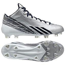 adidas Men\'s adizero 5-Star 2.0 Mid Football Cleats (10, Platinum/Navy-White)