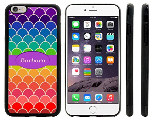 Rikki Knighttm Barbara Name On Rainbow Scallop Design Design Iphone 6 Plus Case Cover (Black Rubber With Front Bumper Protection) For Apple Iphone 6 Plus front-602460