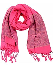 Jubination Silk look Red Stole for girls/ ladies (Assorted print)