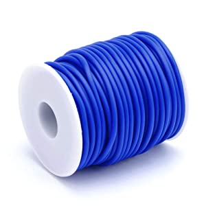 Pandahall 27.34 Yards/Roll 3mm Hollow Pipe Tubuing Rubber Cord with 1.5mm Hole Solid Rubber Tube Cord with Plasic Spool (Blue) (Color: Blue, Tamaño: 3mm)