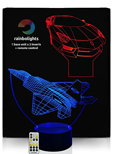 BIRTHDAYS GIFTS FOR BOYS 3D Illusion Night Light 7 color (2 Designs PLANE & CAR) with REMOTE CONTROLLER inc Dimmer by rainbolights NEW PRODUCT (Best Gifts For A 7 Year Old Boy compare prices)