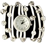 Spaghetti Strand Designer Inspired Geneva Wrap Watch-White and Gold!