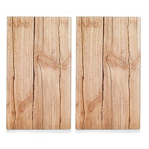 """Zeller 26277 Herdabdeck-Schneideplatten """"Wood"""", 2-er Set, Glas"""