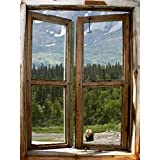 JP London CWPOSLT7022 uStrip Lite Removable Wall Decal Sticker Window Mural Bear Forest Rustic Cabin View, 24-Inch x 18-Inch