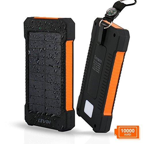 LEVIN(レビン) 【防災グッズ】10,000mAh ソーラー モバイルバッテリー 大容量 ソーラー スマホ 充電器 2ポート LEDライト付き ソーラーバッテリーチャージャー オレンジ