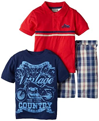 Little Rebels Boys 2-7 3 Piece Motorcyle Short Set, Red, 5