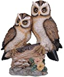 6.5 inch Polyresin Tan And Brown Owls Perched On Tree Log Figurine