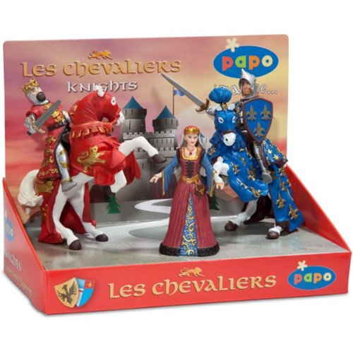 Papo - 80600 - Figurine - Chevaliers 2 - Boîte Présentoir - Reine Médiévale / Roi Richard Rouge / Cheval du Roi Richard Rouge / Prince Philippe Bleu / Cheval du Prince Philippe Bleu