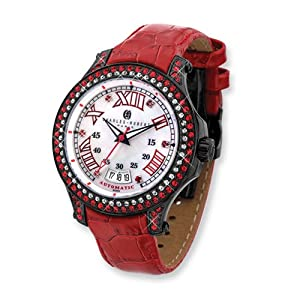 Black Ip-plated Stainless Steel Red Automatic Watch by Charles Hubert Paris Watches, Best Quality Free Gift Box Satisfaction Guaranteed
