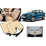 Auto Pearl - Premium Quality Car Seat Rest Cushion Beige Set Of 2Pcs For - Volkswagen Ameo