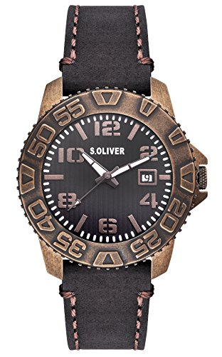 s.Oliver Herren-Armbanduhr XL Analog Quarz Leder SO-2933-LQ