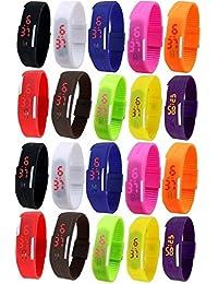 LEMONADE - Pack Of 20 - Multicolor Silicone Unisex Digital LED Band Wrist Watch For Boys, Girls, Men, Women