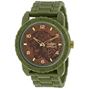 Sprout Men's SC/7001BNGN Jaguar Respect and Protect Dial Army Green Corn Resin Bracelet Watch