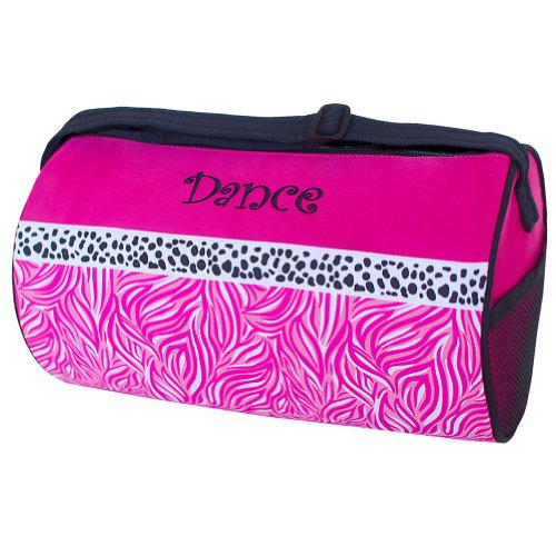 Sassi Design Girls Pink Black Candy Swirl Small Roll Dance Duffel Bag