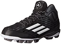 adidas Performance Poweralley 3 TPU Mid J Baseball Shoe (Little Kid/Big Kid), Black/White/Tech Grey/Metallic, 3.5 M US Big Kid