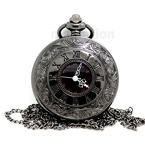 Vintage Unisex Dual Display Roman Number Quartz Steampunk Men Pocket Watch with Chain & Gift Box