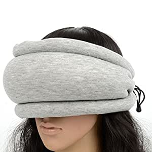 Great Value Pillow 2-in-1 Portable Ostrich Style Pillow Blinder Gray & Blue
