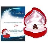 Echte Sternschnuppe in roter Herzbox - inkl. persönlichem Widmungszertifikat mit Deinem Wunschtext | das persönliche Geschenk für Pärchen oder zur Taufe