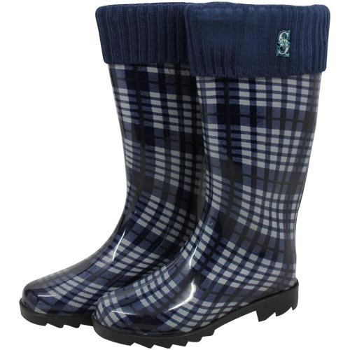 Seattle Mariners Women's Plaid Cuffed Rain Boots by For Bare Feet at Amazon.com