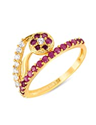 Mahi Ruby & CZ 24K Gold Plated Fashion Finger Ring For Women FR1100293G