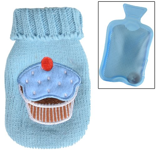 BLUE Mini Gel Pack Hand Warmer And Sweater Style Cover With Cup Cake Design Applique